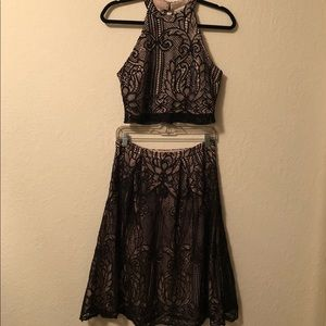 {Francesca's} Black and Nude Two Piece Lace Dress